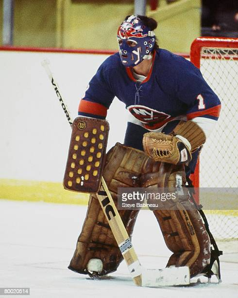 BOSTON MA 1970's Chico Resch of the New York Islanders tends goal in pre game warm up at Boston Garden