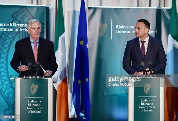 EU's Chief Brexit Negotiator Michel Barnier gives a joint speech with Taoiseach Leo Varadkar outlining updates in Brexit talks at the border between...