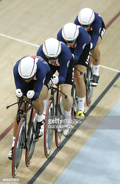 USA's Chloe Dygert USA's Jennifer Valente USA's Kelly Catlin and USA's Sarah Hammer compete in the women's Team Pursuit qualifying track cycling...