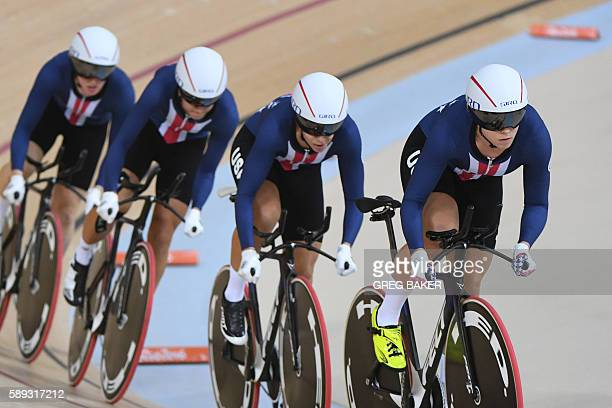 USA's Chloe Dygert USA's Jennifer Valente USA's Kelly Catlin and USA's Sarah Hammer compete in the women's Team Pursuit finals track cycling event at...