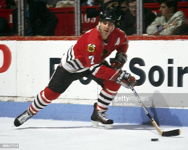 MONTREAL 1990's Chris Chelios of the Chicago Black Hawks skates with the puck against the Montreal Canadiens during the early 1990's at the Montreal...