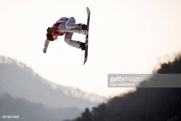 USA's Chris Corning competes during the qualification of the men's snowboard big air event at the Alpensia Ski Jumping Centre during the Pyeongchang...