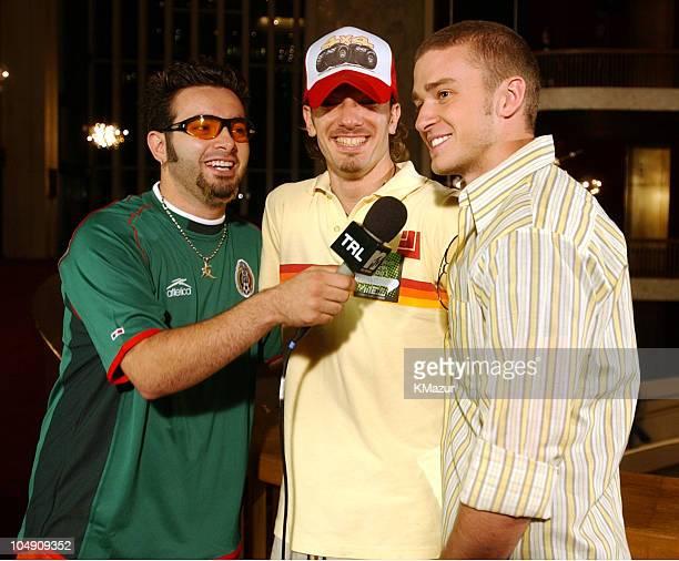 *NSYNC's Chris Kirkpatrick interviews groupmates Lance Bass and Justin Timberlake for the new season opener of MTV's TRL