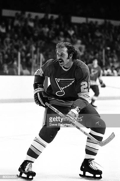 BOSTON MA 1970's Chuck Lefley of the St Louis Blues skates in game against the Boston Bruins at Boston Garden