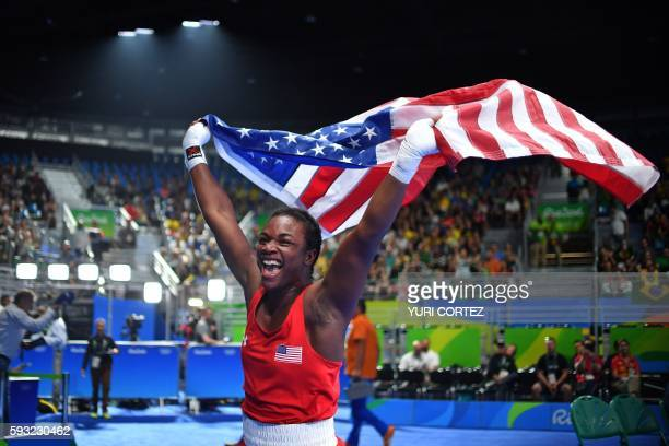 USA's Claressa Maria Shields reacts after winning against Netherlands' Nouchka Fontijn during the Women's Middle Final Bout at the Rio 2016 Olympic...