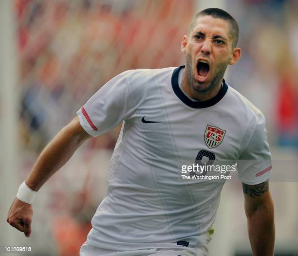 S Clint Dempsey celebrates scoring the game winning goal in the 2nd period as the USA defeats Turkey 2 - 1 in soccer at Lincoln Field in Philadelphia...
