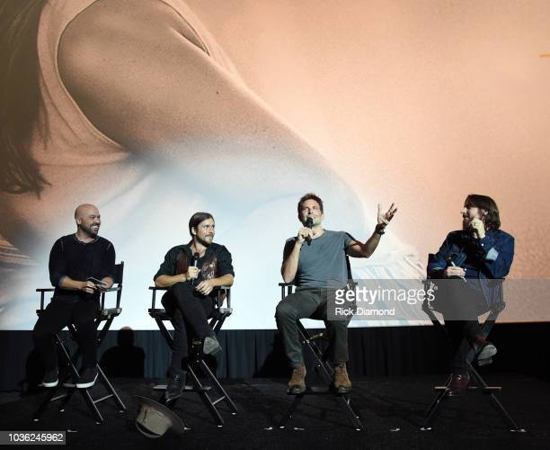 CMT's Cody Alan Singer/Songwriter Lukas Nelson Actor/Director Bradley Cooper and Music Producer Dave Cobb attend 'A Star Is Born' screening with...