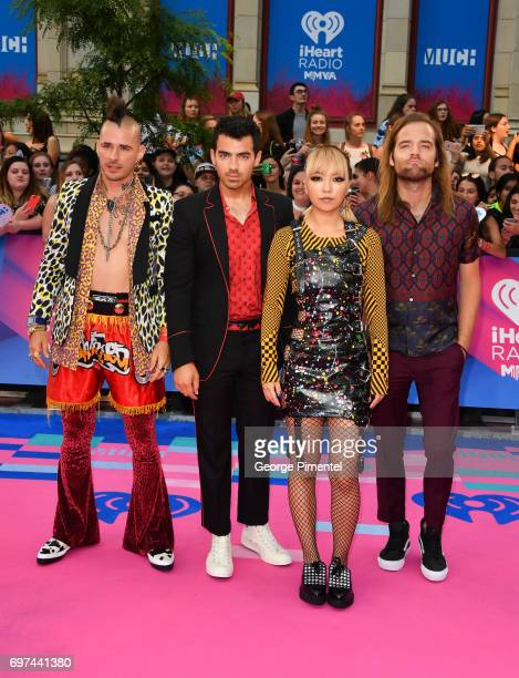 DNCE's Cole Whittle Joe Jonas JinJoo Lee and Jack Lawless arrive at the 2017 iHeartRADIO MuchMusic Video Awards at MuchMusic HQ on June 18 2017 in...