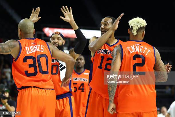 S Company celebrates defeating the Ball Hogs 50-38 during week four of the BIG3 three on three basketball league at Dunkin' Donuts Center on July 13,...