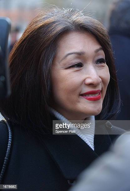 CNN's Connie Chung attends the funeral of former ABC News Chairman Roone Arledge December 9 2002 in New York City Arledge who built groundbreaking...