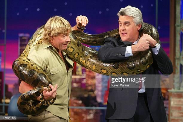 """S """"Crocodile Hunter"""" Steve Irwin wraps an anaconda snake around host Jay Leno on """"The Tonight Show with Jay Leno"""" at the NBC studios February 4, 2003..."""