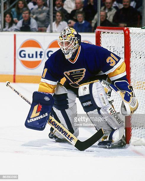 BOSTON MA 1990's Curtis Joseph of the St Louis Blues defends goal against the Boston Bruins at Boston Garden