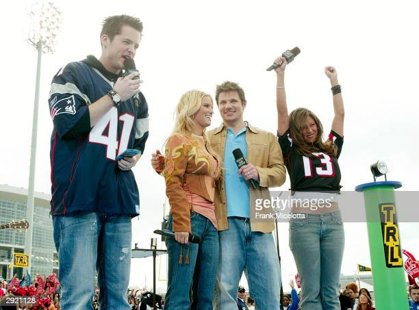 S Damien Fahey and Vanessa Minnillo with Jessica Simpson and Nick Lachey at the MTV's Total Request Live on Super Bowl Sunday on February 1, 2004 at...