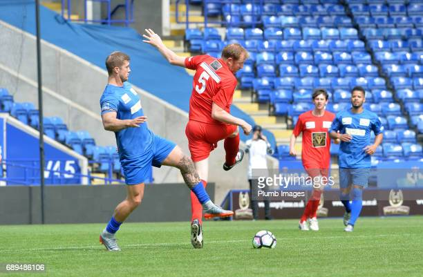 TOWIE's Dan Osborne in action during the Celebrity Charity Football Match at King Power Stadium on May 28 2017 in Leicester United Kingdom