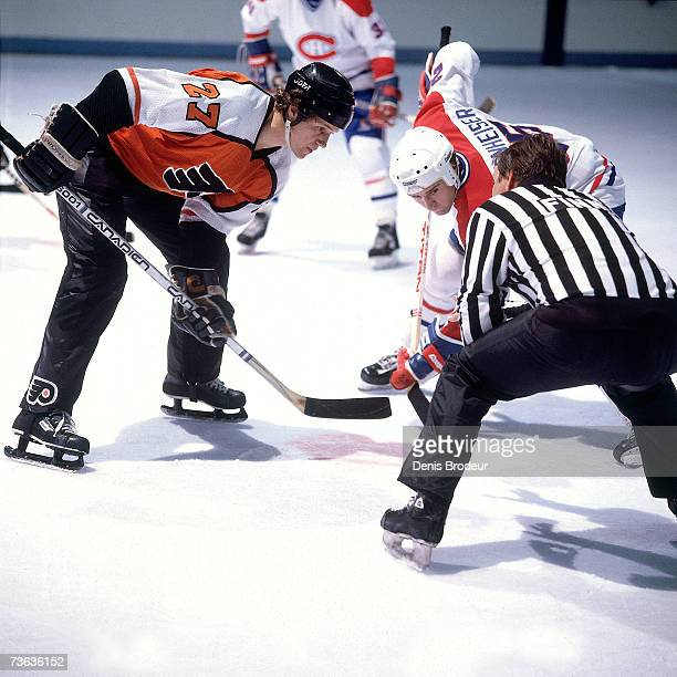 MONTREAL 1980's Darryl Sittler of the Philadelphia Flyers gets ready to faceoff against Doug Wickenheiser of the Montreal Canadiens