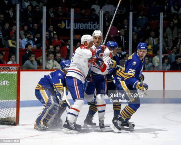MONTREAL 1980's Dave Andreychuk of the Buffalo Sabres scrambles in front of the net against the Montreal Canadiens in the late 1980's at the Montreal...