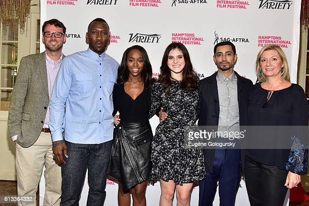 HIFF's David Nugent and Anne Chaisson pose with actors Mahershala Ali Aja Naomi King Kara Hayward and Riz Ahmed at Variety's 10 To Watch Brunch and...