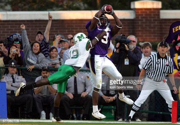 ECU's Davon Drew makes a tough touchdown catch over Marshall's T K Drakeford during the NCAA Conference USA football game between the Marshall...