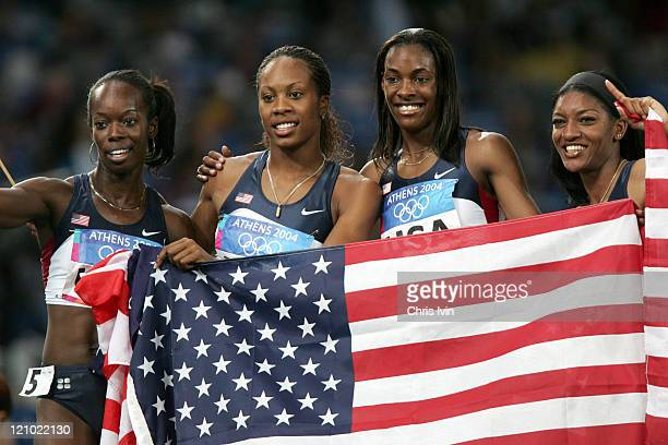 USA's Deedee Trotter Monique Henderson Sanya Richards and Monique Hennagan win the Women's 4x400m Relay Final in a time of 31901 in Olympic Stadium...