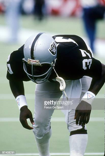 FOXBOROUGH MA CIRCA 1980's Defensive back Lester Hayes of the Oakland Raiders during pregame warmups circa early 1980's before an NFL football game...