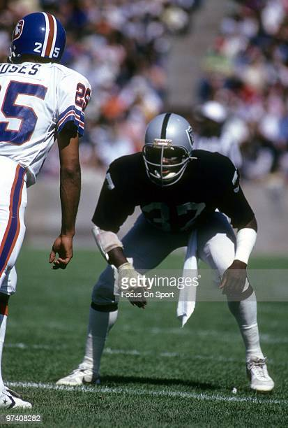 OAKLAND CA CIRCA 1980's Defensive back Lester Hayes of the Oakland Raiders in action guarding wide receiver Haven Moses of the Denver Broncos circa...
