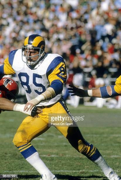 ATLANTA GA CIRCA 1970's Defensive End Jack Youngblood of the Los Angeles Rams in action against the Atlanta Falcons circa mid 1970's during an NFL...