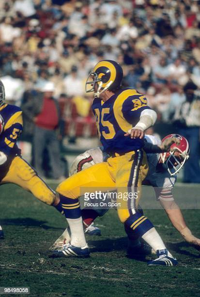 ANAHEIM CA CIRCA 1970's Defensive End Jack Youngblood of the Los Angeles Rams in action against the Atlanta Falcons circa late 1970's during an NFL...