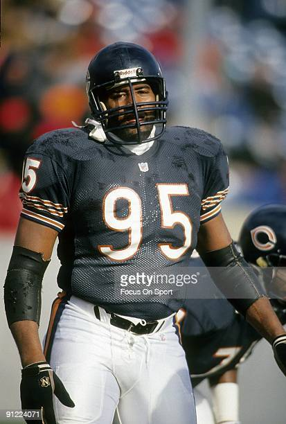 CHICAGO IL CIRCA 1980's Defensive end Richard Dent of the Chicago Bears standing on the field waiting for the next play during an NFL football game...