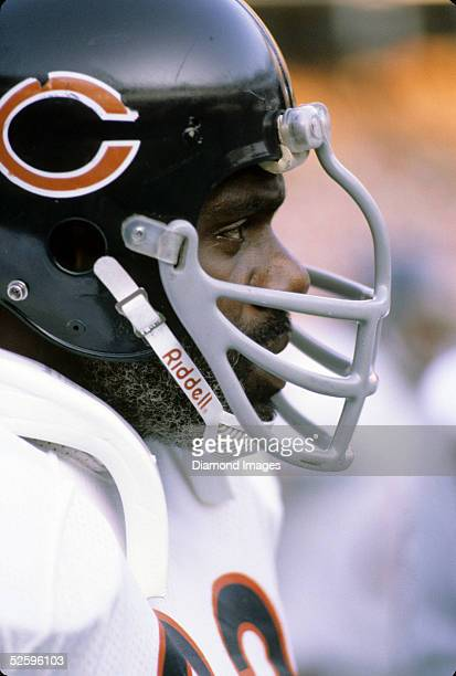 Defensive lineman Alan Page of the Chicago Bears looks on the sidelines during a game in the late-1970's.