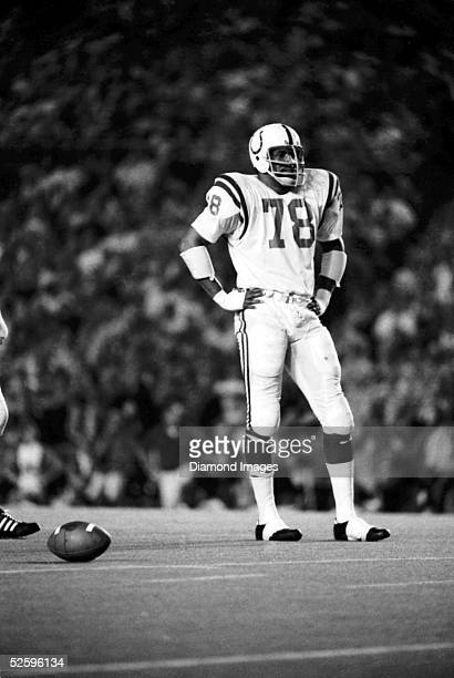 Defensive lineman Bubba Smith of the Baltimore Colts awaits the next play during a game in the early 1970's.