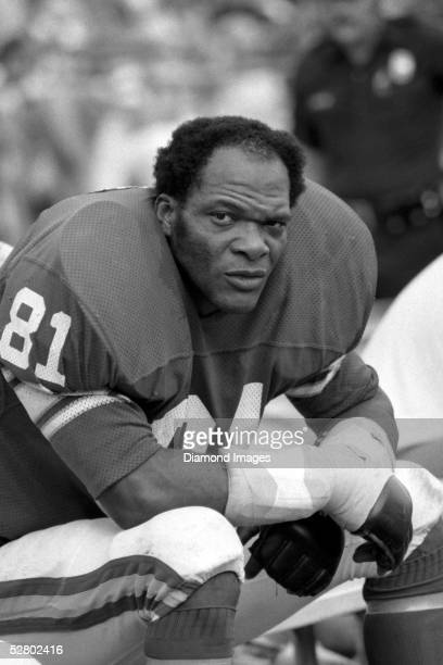 Defensive lineman Carl Eller of the Minnesota Vikings, on the sidelines during a game in the 1970's.