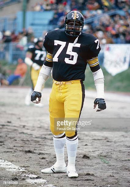 PITTSBURGH PA CIRCA 1970's Defensive lineman Joe Green of the Pittsburgh Steelers during pregame warmup before a mid circa 1970's NFL football game...