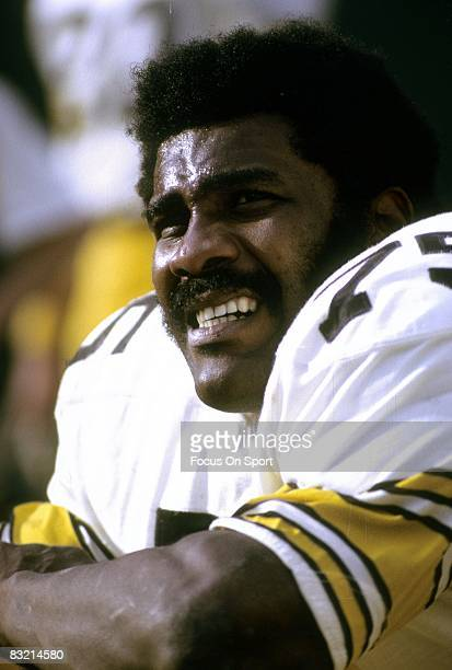 ATLANTA GA CIRCA 1970's Defensive lineman Joe Greene of the Pittsburgh Steelers sits on the bench during a mid circa 1970's NFL football game at...