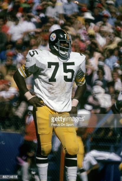 ATLANTA GA CIRCA 1970's Defensive lineman Joe Greene of the Pittsburgh Steelers waits on the Atlanta Falcons offense to come to the line during a mid...