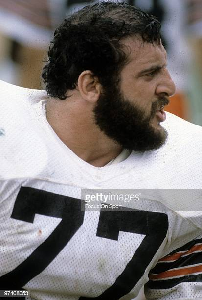 CIRCA 1980's Defensive Tackle Lyle Alzado of the Cleveland Browns watches the action from the bench circa early 1980's during an NFL football game...