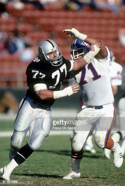 LOS ANGELES CA CIRCA 1980's Defensive Tackle Lyle Alzado of the Los Angeles Raiders in action gets past tackle Claudie Minor of the Denver Broncos...