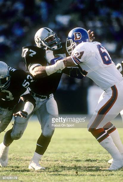 LOS ANGELES CA CIRCA 1980's Defensive Tackle Lyle Alzado of the Los Angeles Raiders in action goes up against guard Keith Uecker of the Denver...