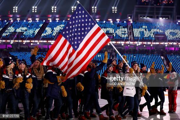 USA's delegation and flagbearer Erin Hamlin parade during the opening ceremony of the Pyeongchang 2018 Winter Olympic Games at the Pyeongchang...