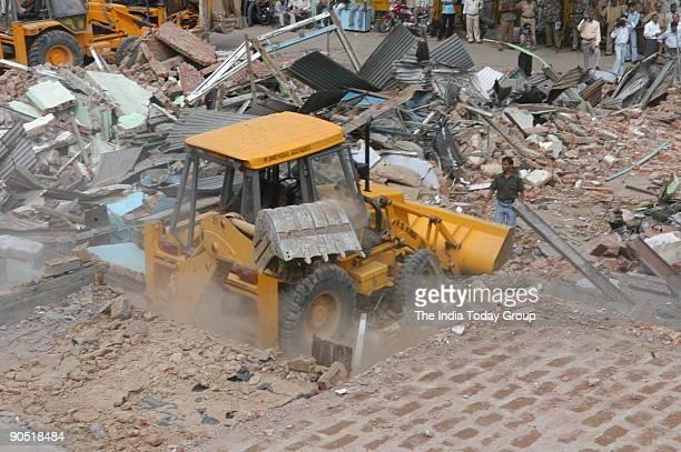 MCD's demolition drive at encroached areas of Jama Masjid in New Delhi India