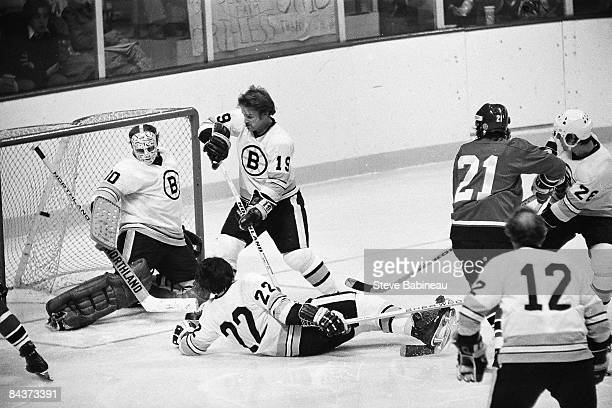 BOSTON MA 1970's Dennis Maruk of the Cleveland Barons scores goal against the Boston Bruins at Boston Garden