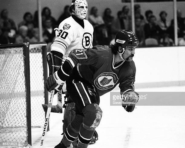 BOSTON MA 1970's Dennis Maruk of the Cleveland Barons skates against the Boston Bruins at Boston Garden