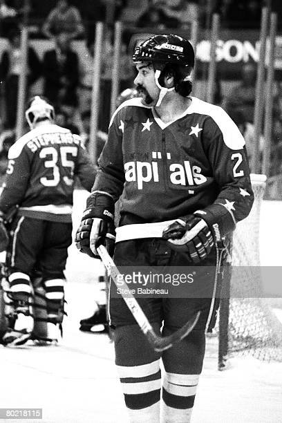BOSTON MA 1980's Dennis Maruk of the Washington Capitals awaits face off action in game against the Boston Bruins at Boston Garden