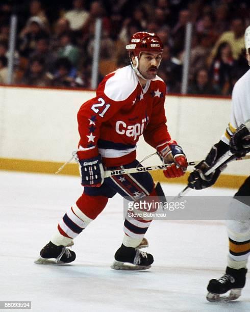 BOSTON MA 1980's Dennis Maruk of the Washington Capitals skates against the Boston Bruins at the Boston Garden in
