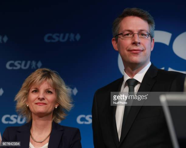 CSU's designated vice secretary general Daniela Ludwig stands next to designated secretary Markus Blume in Munich Germany on 5 March 2018 The...