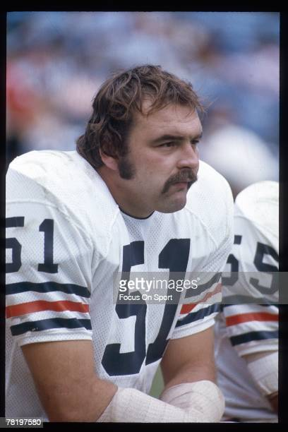 S: Dick Butkus of the Chicago Bears on the bench against the Green Bay Packers in a circa mid 1960's NFL football game at Lambeau frield in Green...