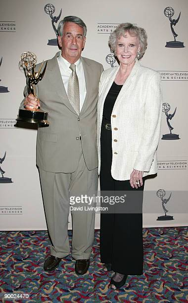 NASA's Dick Nafzger holding the Philo T Farnsworth Corporate Achievement Award he accepted on behalf of NASA and actress June Lockhart attend the...