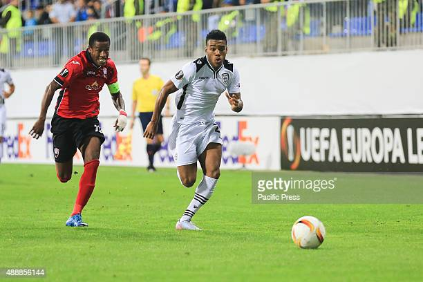 PAOK's Dimitris Konstantinidis vies for the ball with Gabala's Dodo during the UEFA Europa Leauge group stage soccer match between Azerbaijan's...