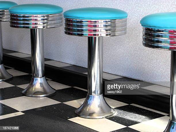 60's Diner Teal Blue Bar Stools Close Up