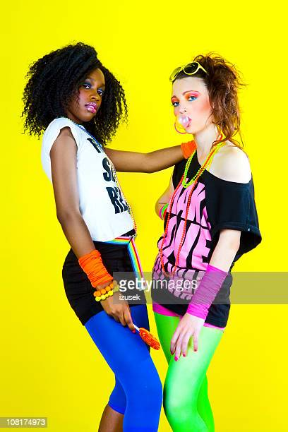 80's disco chicks - all hip hop models stock photos and pictures