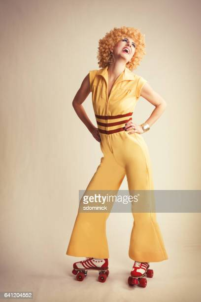 70's disco skating - cut out dress stock pictures, royalty-free photos & images